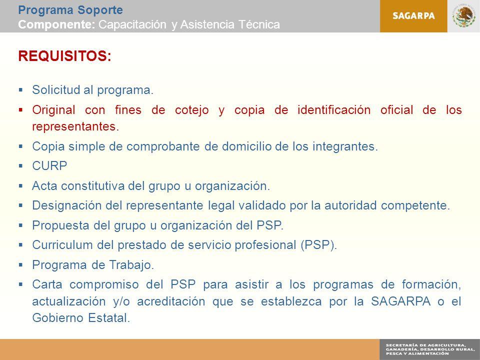 Programa Soporte Componente: Capacitación y Asistencia Técnica REQUISITOS:  Solicitud al programa.