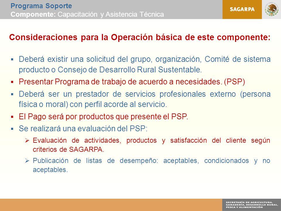 Programa Soporte Componente: Capacitación y Asistencia Técnica Consideraciones para la Operación básica de este componente:  Deberá existir una solicitud del grupo, organización, Comité de sistema producto o Consejo de Desarrollo Rural Sustentable.