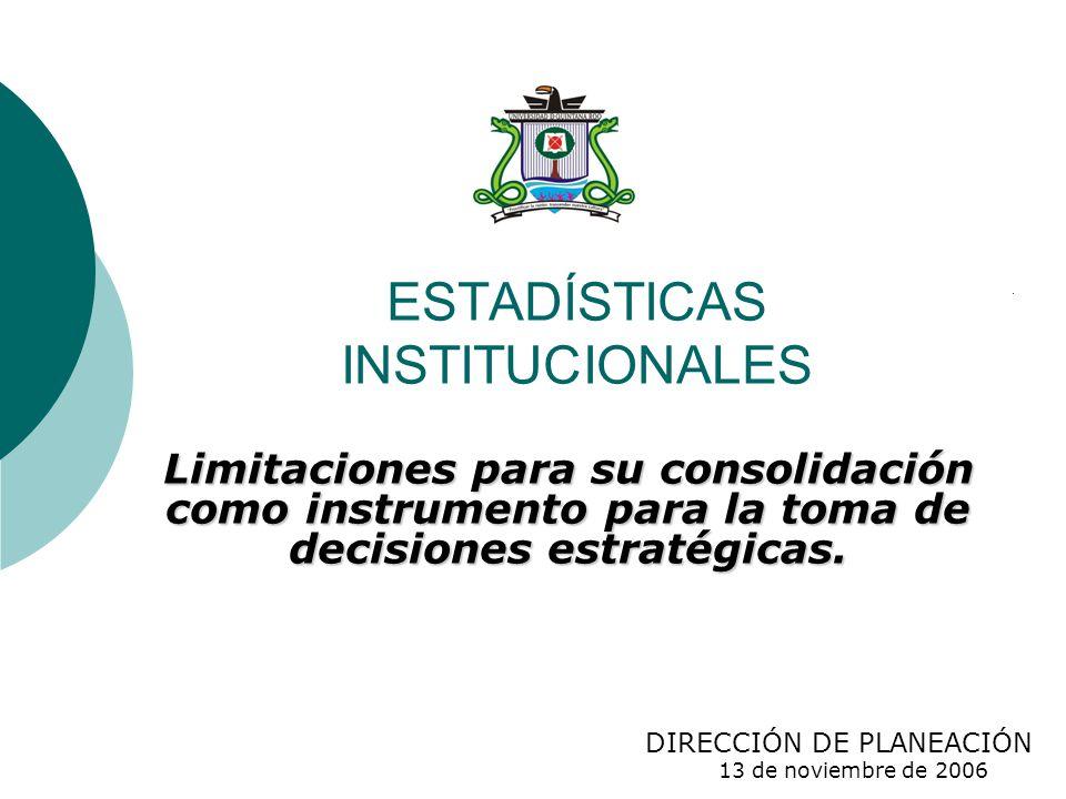 ESTADÍSTICAS INSTITUCIONALES Limitaciones para su consolidación como instrumento para la toma de decisiones estratégicas.