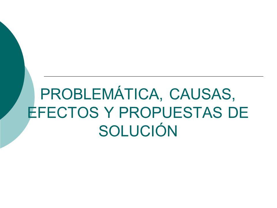 PROBLEMÁTICA, CAUSAS, EFECTOS Y PROPUESTAS DE SOLUCIÓN