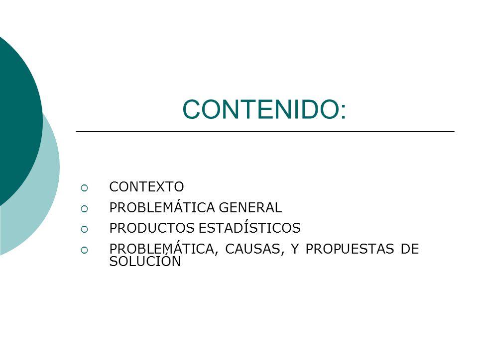 CONTENIDO:  CONTEXTO  PROBLEMÁTICA GENERAL  PRODUCTOS ESTADÍSTICOS  PROBLEMÁTICA, CAUSAS, Y PROPUESTAS DE SOLUCIÓN