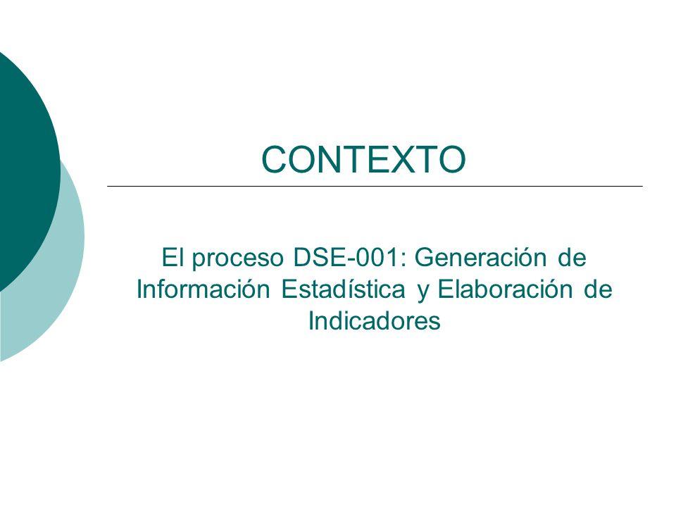 El proceso DSE-001: Generación de Información Estadística y Elaboración de Indicadores CONTEXTO