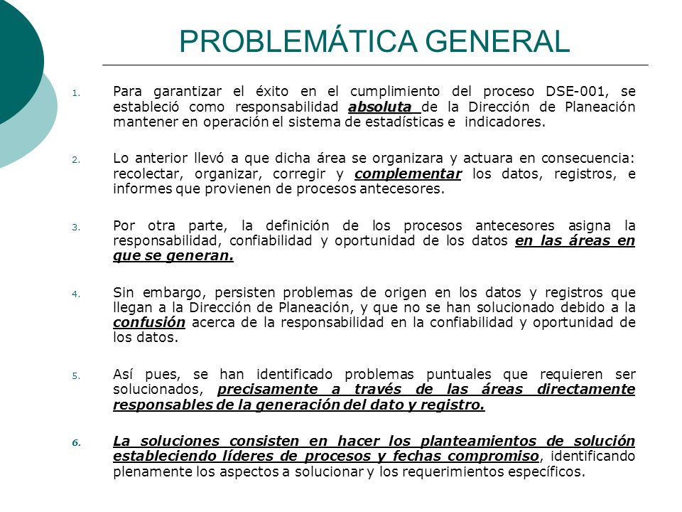 PROBLEMÁTICA GENERAL absoluta 1.