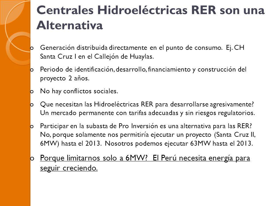 Centrales Hidroeléctricas RER son una Alternativa oGeneración distribuida directamente en el punto de consumo.
