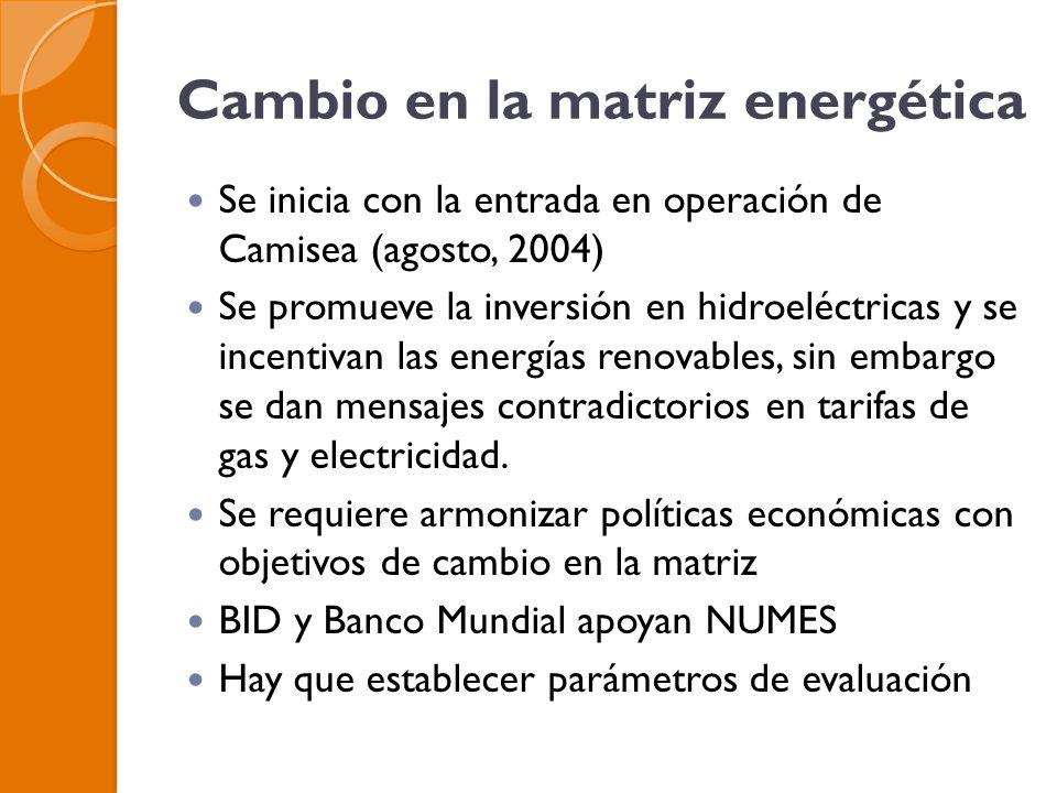 Cambio en la matriz energética Se inicia con la entrada en operación de Camisea (agosto, 2004) Se promueve la inversión en hidroeléctricas y se incentivan las energías renovables, sin embargo se dan mensajes contradictorios en tarifas de gas y electricidad.