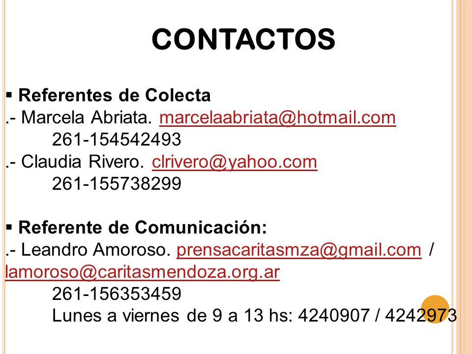 CONTACTOS  Referentes de Colecta.- Marcela Abriata.