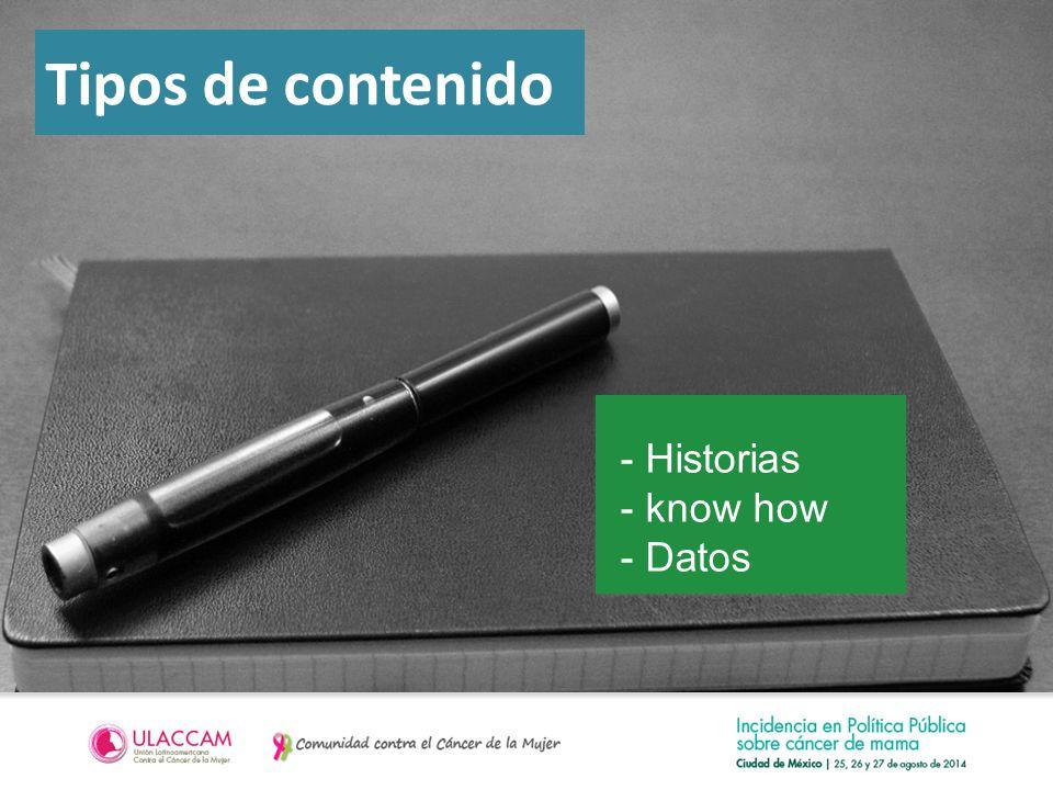 Tipos de contenido - Historias - know how - Datos
