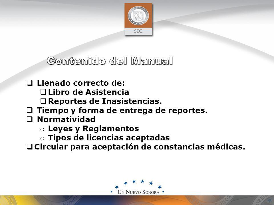  Llenado correcto de:  Libro de Asistencia  Reportes de Inasistencias.