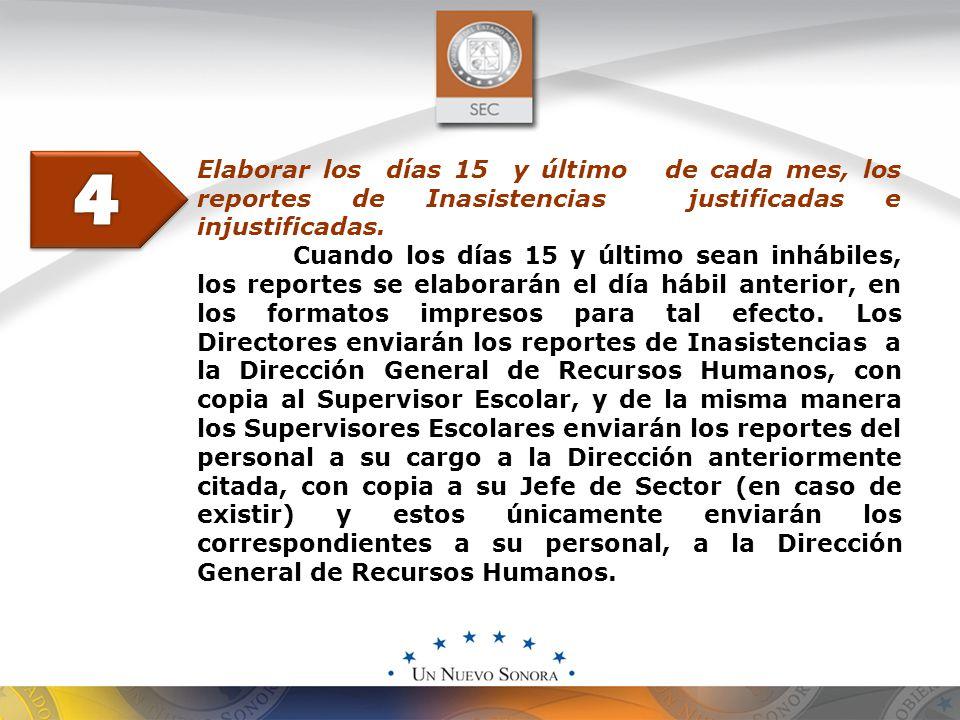 Elaborar los días 15 y último de cada mes, los reportes de Inasistencias justificadas e injustificadas.