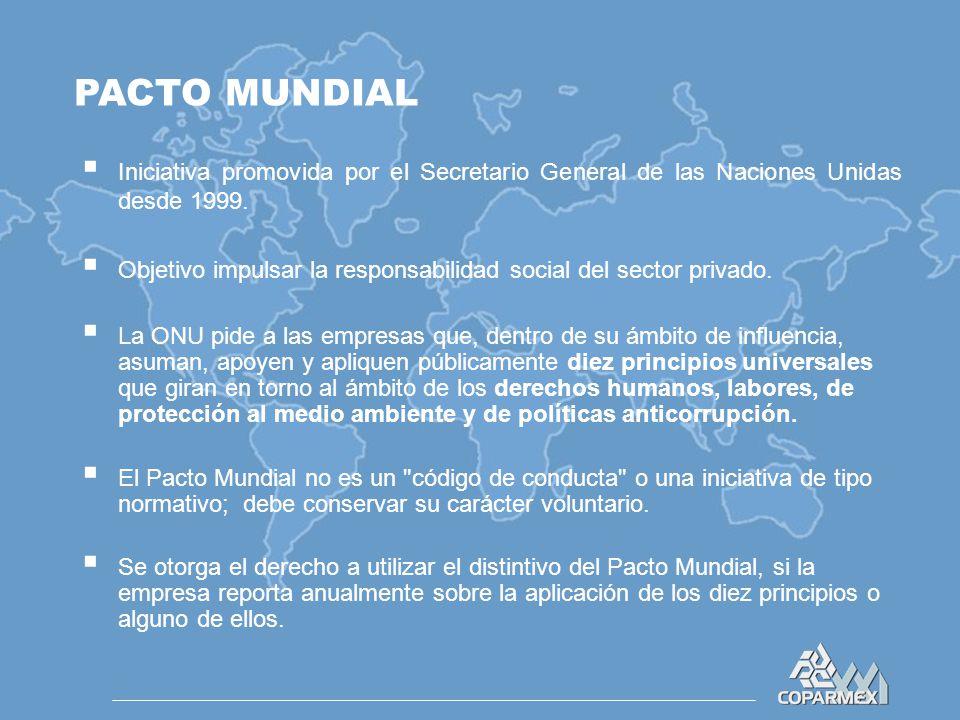 PACTO MUNDIAL  Iniciativa promovida por el Secretario General de las Naciones Unidas desde 1999.