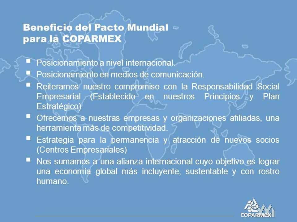 Beneficio del Pacto Mundial para la COPARMEX  Posicionamiento a nivel internacional.