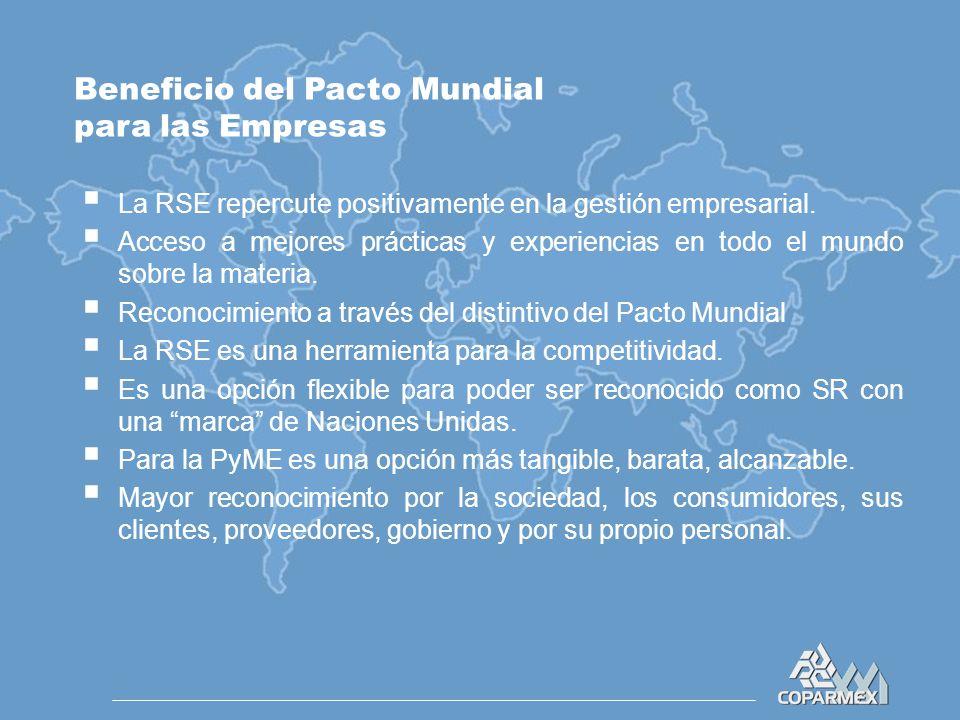 Beneficio del Pacto Mundial para las Empresas  La RSE repercute positivamente en la gestión empresarial.