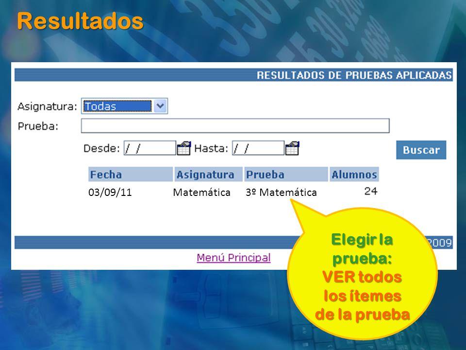 Resultados 03/09/11 Matemática 3º Matemática Elegir la prueba: VER todos los ítemes de la prueba