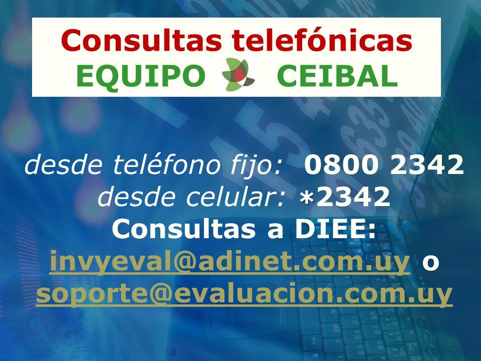 Consultas telefónicas EQUIPO CEIBAL * desde teléfono fijo: 0800 2342 desde celular: * 2342 Consultas a DIEE: invyeval@adinet.com.uy o soporte@evaluacion.com.uy invyeval@adinet.com.uy soporte@evaluacion.com.uy