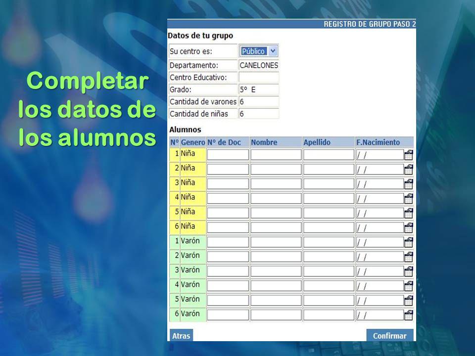 Completar los datos de los alumnos
