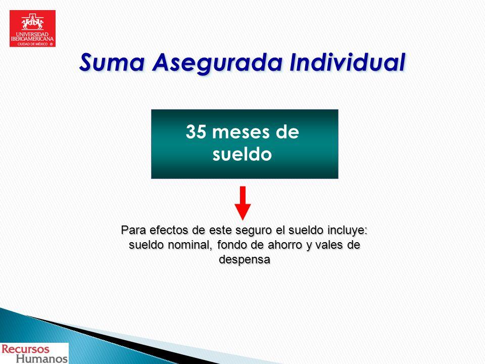 Suma Asegurada Individual 35 meses de sueldo Para efectos de este seguro el sueldo incluye: sueldo nominal, fondo de ahorro y vales de despensa