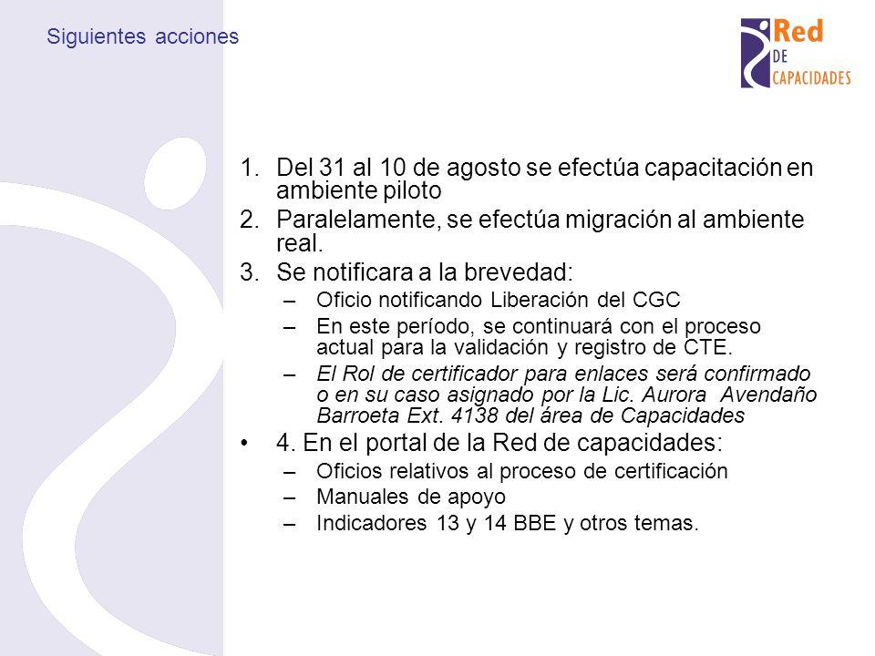 Siguientes acciones 1.Del 31 al 10 de agosto se efectúa capacitación en ambiente piloto 2.Paralelamente, se efectúa migración al ambiente real.