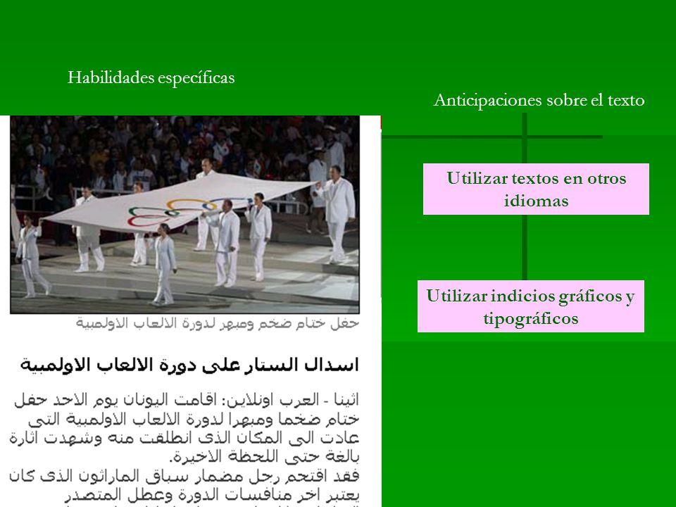Habilidades específicas Anticipaciones sobre el texto Utilizar textos en otros idiomas Utilizar indicios gráficos y tipográficos