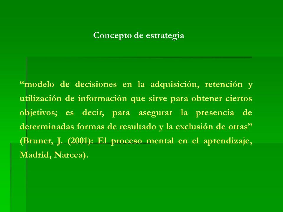 Concepto de estrategia modelo de decisiones en la adquisición, retención y utilización de información que sirve para obtener ciertos objetivos; es decir, para asegurar la presencia de determinadas formas de resultado y la exclusión de otras (Bruner, J.