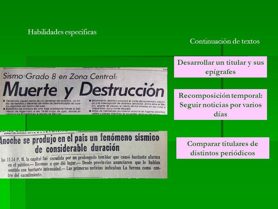 Habilidades específicas Continuación de textos Desarrollar un titular y sus epígrafes Recomposición temporal: Seguir noticias por varios días Comparar titulares de distintos periódicos