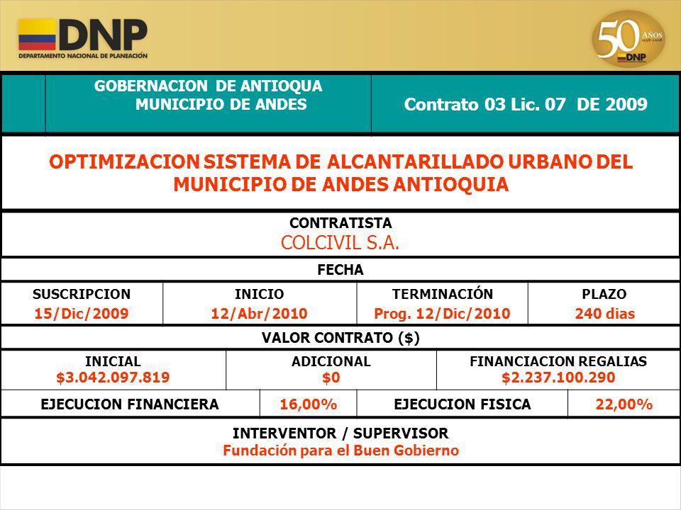 GOBERNACION DE ANTIOQUA MUNICIPIO DE ANDES Contrato 03 Lic.