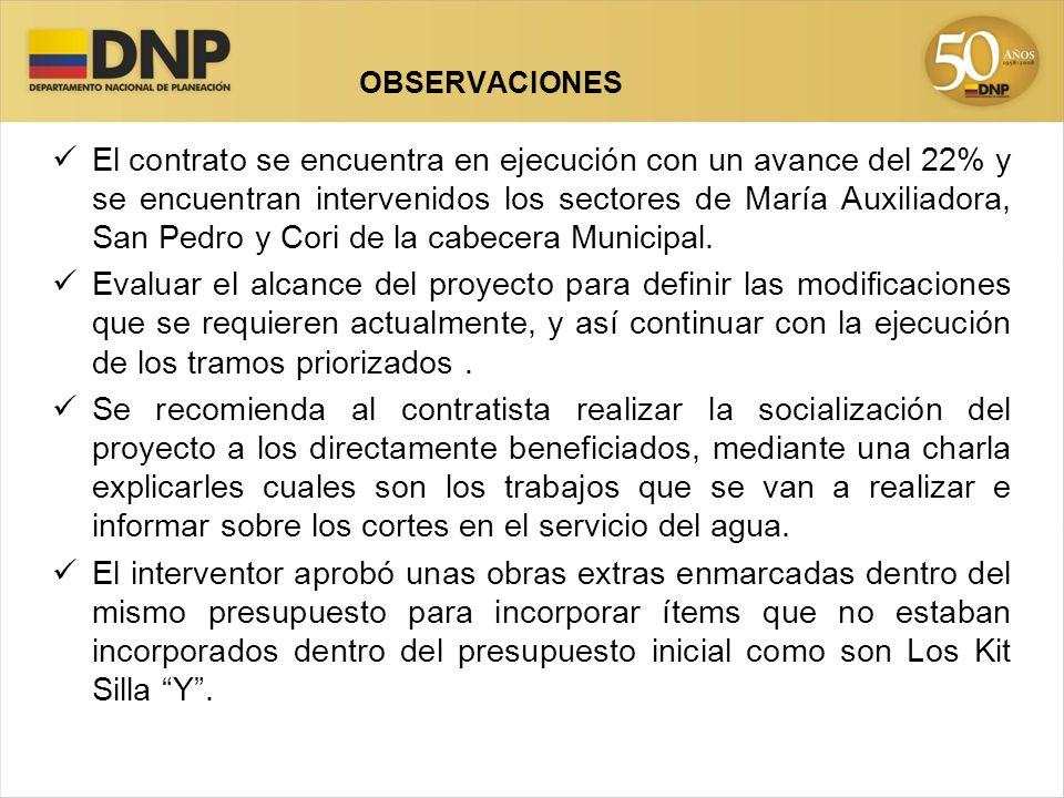 El contrato se encuentra en ejecución con un avance del 22% y se encuentran intervenidos los sectores de María Auxiliadora, San Pedro y Cori de la cabecera Municipal.