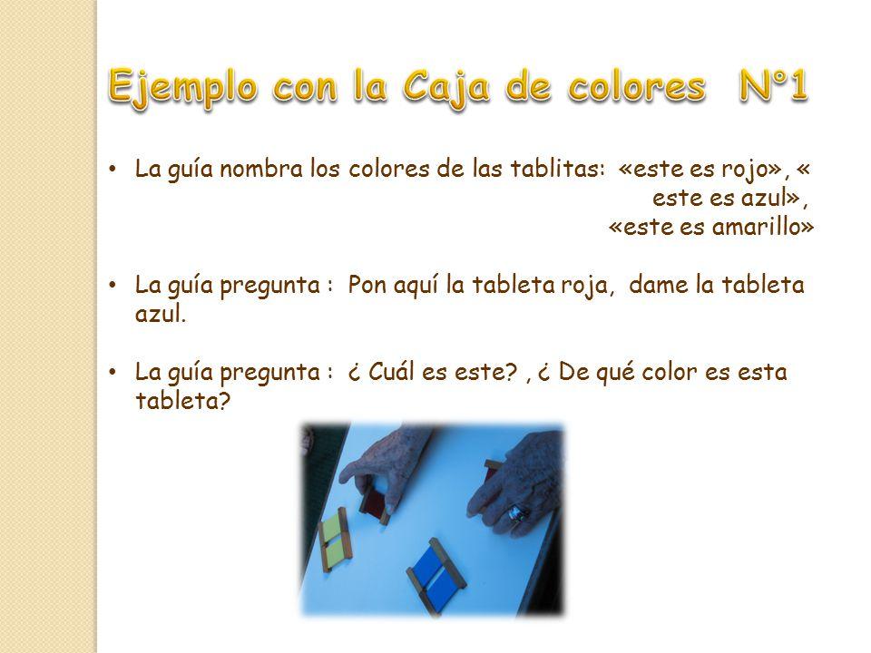 La guía nombra los colores de las tablitas: «este es rojo», « este es azul», «este es amarillo» La guía pregunta : Pon aquí la tableta roja, dame la tableta azul.