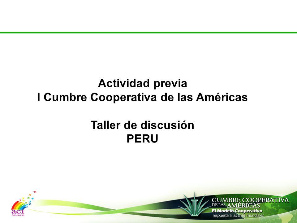 Actividad previa I Cumbre Cooperativa de las Américas Taller de discusión PERU