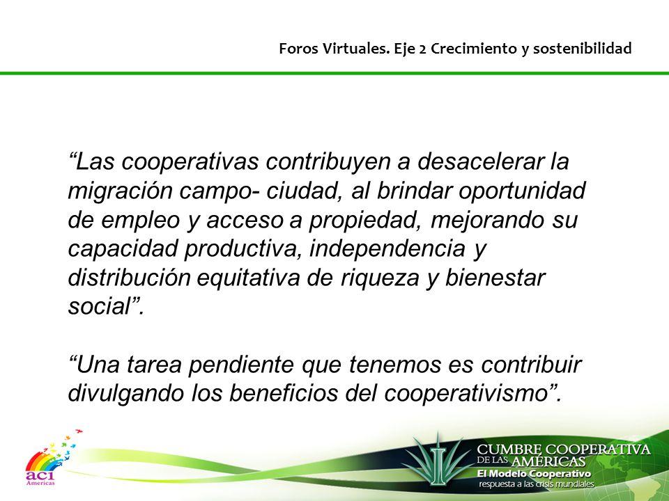 Las cooperativas contribuyen a desacelerar la migración campo- ciudad, al brindar oportunidad de empleo y acceso a propiedad, mejorando su capacidad productiva, independencia y distribución equitativa de riqueza y bienestar social .