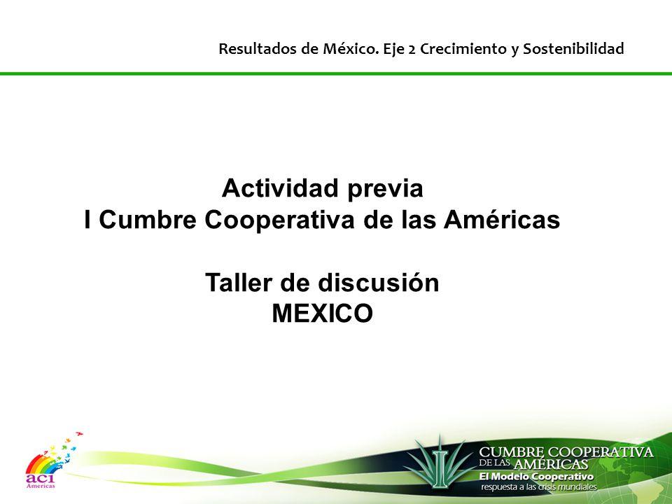 Actividad previa I Cumbre Cooperativa de las Américas Taller de discusión MEXICO Resultados de México.