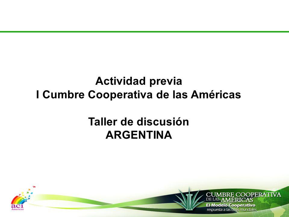 Actividad previa I Cumbre Cooperativa de las Américas Taller de discusión ARGENTINA