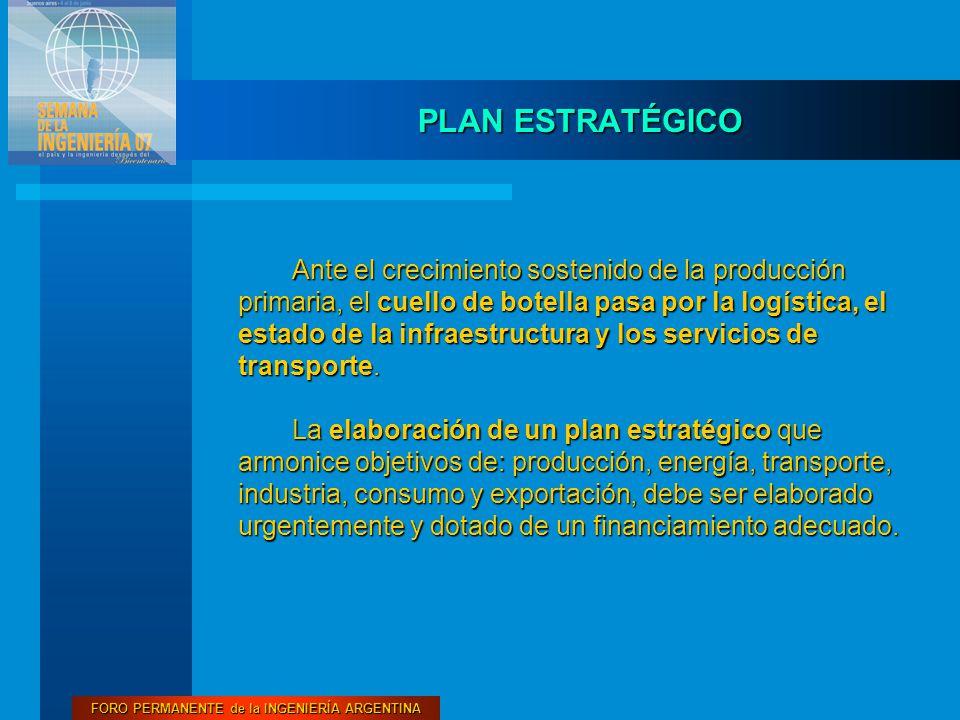 FORO PERMANENTE de la INGENIERÍA ARGENTINA PLAN ESTRATÉGICO Ante el crecimiento sostenido de la producción primaria, el cuello de botella pasa por la logística, el estado de la infraestructura y los servicios de transporte.