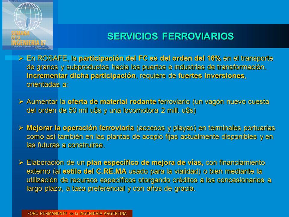 FORO PERMANENTE de la INGENIERÍA ARGENTINA SERVICIOS FERROVIARIOS  En ROSAFE, la participación del FC es del orden del 16% en el transporte de granos y subproductos hacia los puertos e industrias de transformación.