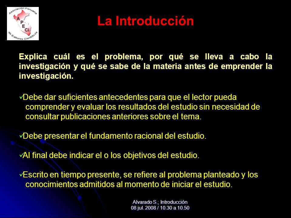 La Introducción Explica cuál es el problema, por qué se lleva a cabo la investigación y qué se sabe de la materia antes de emprender la investigación.