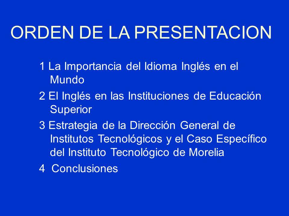 ORDEN DE LA PRESENTACION 1 La Importancia del Idioma Inglés en el Mundo 2 El Inglés en las Instituciones de Educación Superior 3 Estrategia de la Dirección General de Institutos Tecnológicos y el Caso Específico del Instituto Tecnológico de Morelia 4 Conclusiones