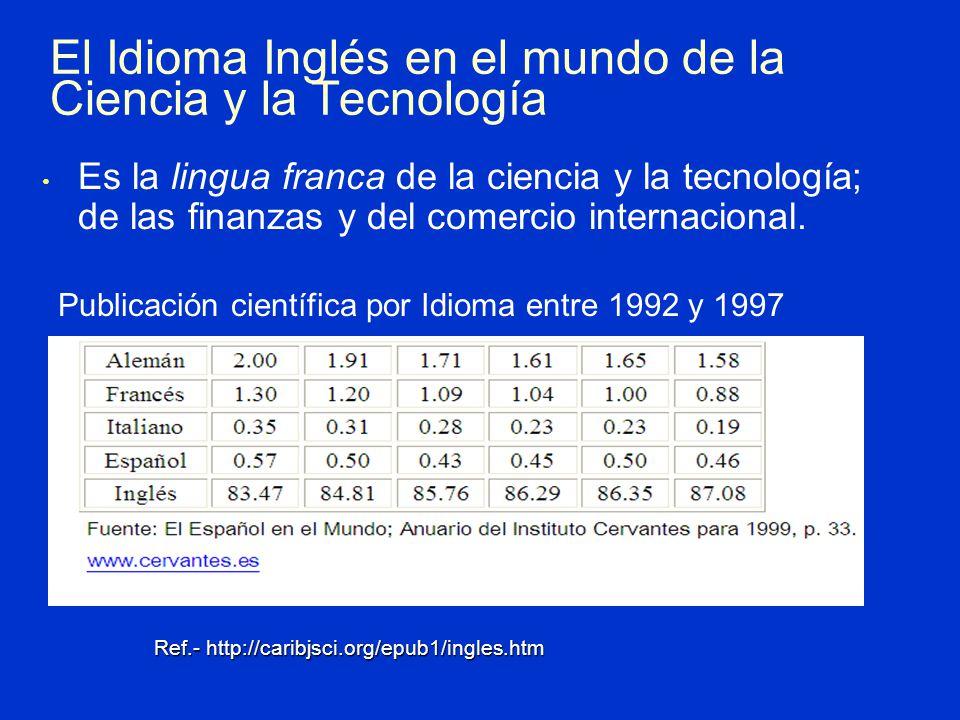 Es la lingua franca de la ciencia y la tecnología; de las finanzas y del comercio internacional.