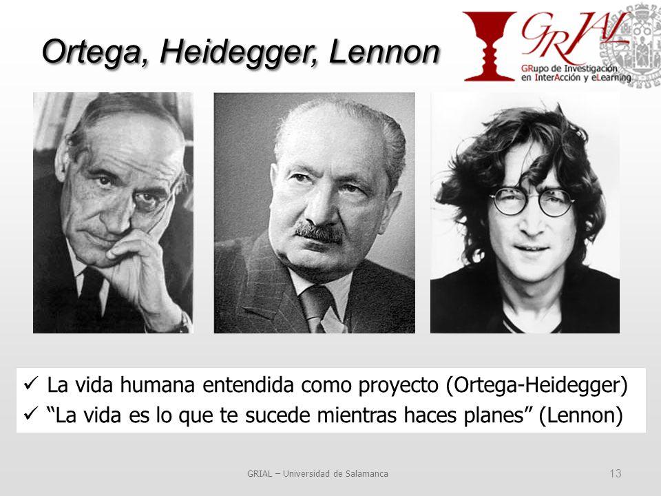 Ortega, Heidegger, Lennon GRIAL – Universidad de Salamanca 13 La vida humana entendida como proyecto (Ortega-Heidegger) La vida es lo que te sucede mientras haces planes (Lennon)