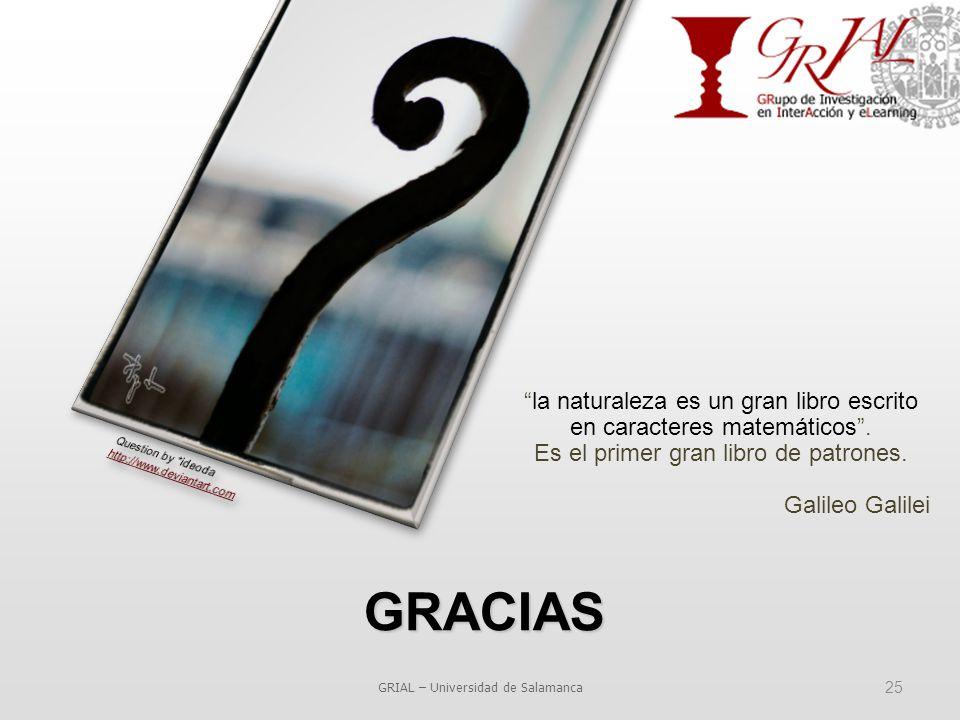 GRACIAS GRIAL – Universidad de Salamanca 25 la naturaleza es un gran libro escrito en caracteres matemáticos .