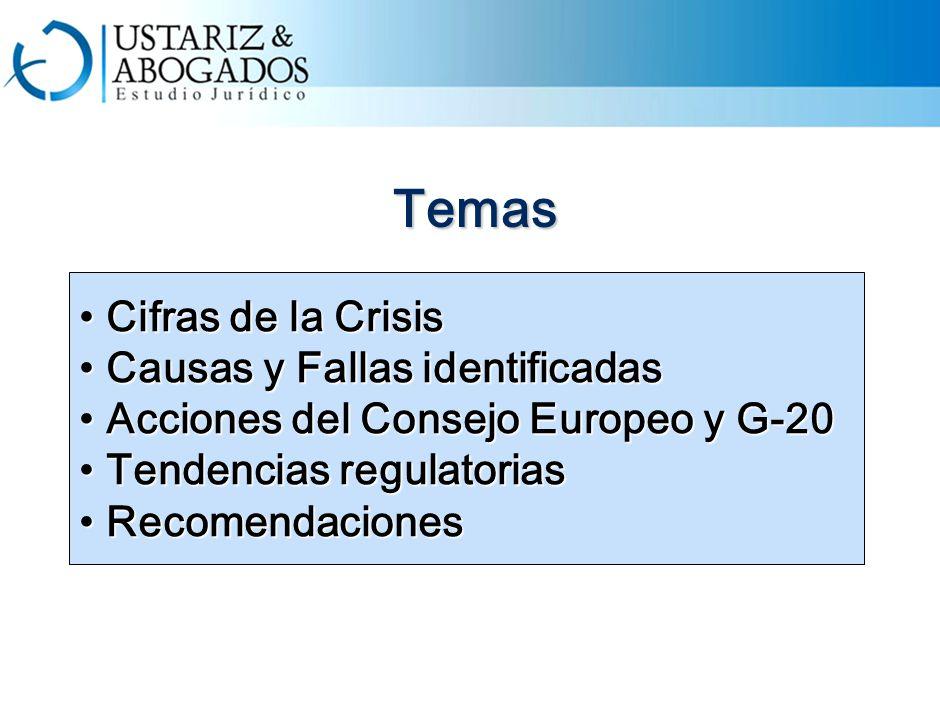 Temas Cifras de la Crisis Cifras de la Crisis Causas y Fallas identificadas Causas y Fallas identificadas Acciones del Consejo Europeo y G-20 Acciones del Consejo Europeo y G-20 Tendencias regulatorias Tendencias regulatorias Recomendaciones Recomendaciones