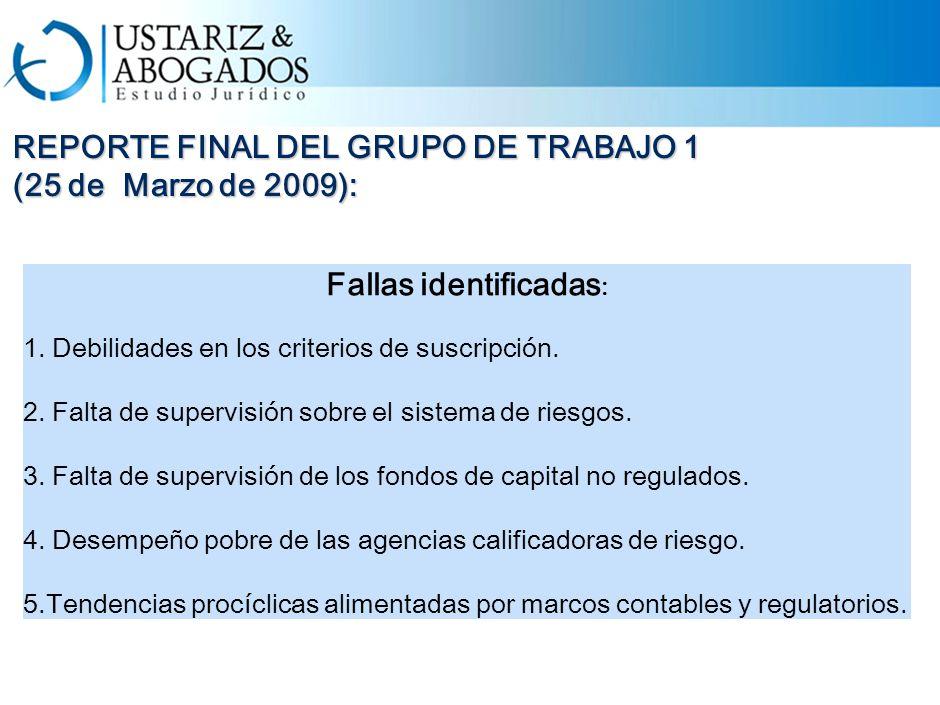REPORTE FINAL DEL GRUPO DE TRABAJO 1 (25 de Marzo de 2009): Fallas identificadas : 1.