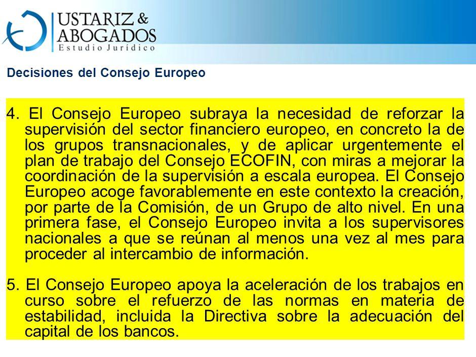 Decisiones del Consejo Europeo 4.