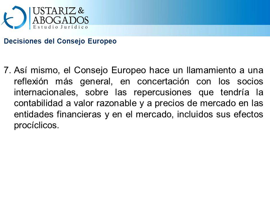 Decisiones del Consejo Europeo 7.