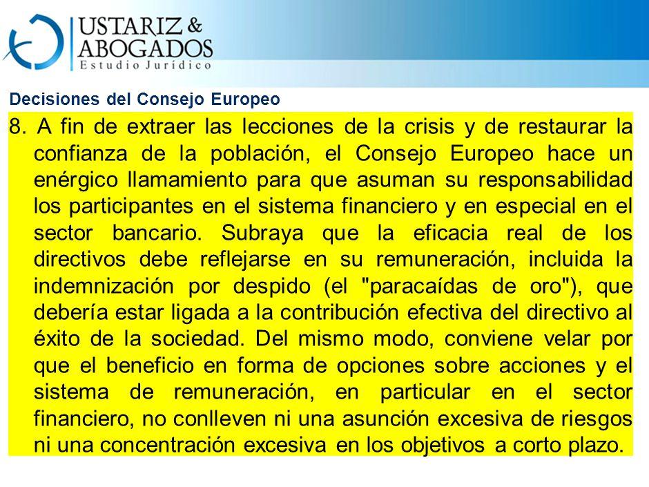 Decisiones del Consejo Europeo 8.