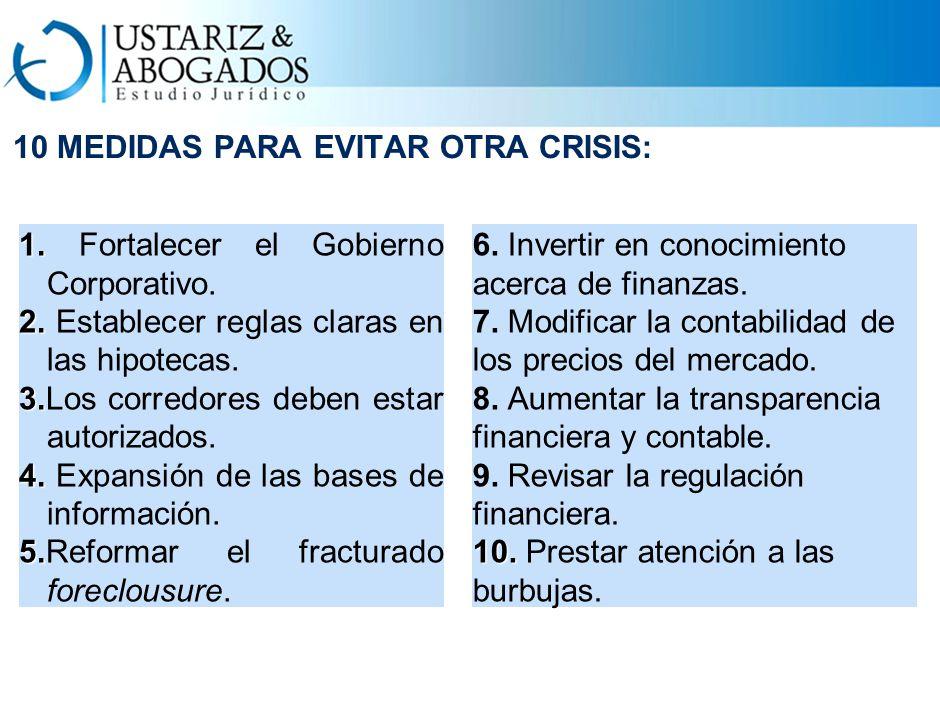10 MEDIDAS PARA EVITAR OTRA CRISIS: 1. 1. Fortalecer el Gobierno Corporativo.