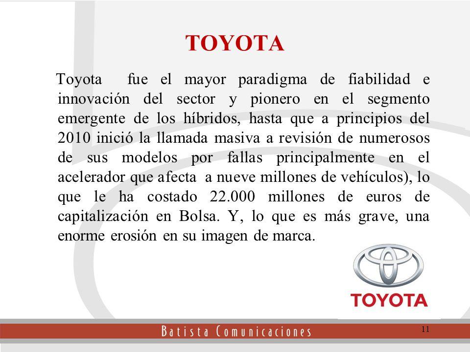 TOYOTA Toyota fue el mayor paradigma de fiabilidad e innovación del sector y pionero en el segmento emergente de los híbridos, hasta que a principios del 2010 inició la llamada masiva a revisión de numerosos de sus modelos por fallas principalmente en el acelerador que afecta a nueve millones de vehículos), lo que le ha costado 22.000 millones de euros de capitalización en Bolsa.