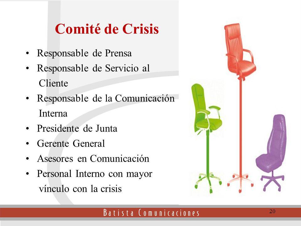 Comité de Crisis Responsable de Prensa Responsable de Servicio al Cliente Responsable de la Comunicación Interna Presidente de Junta Gerente General Asesores en Comunicación Personal Interno con mayor vínculo con la crisis 20