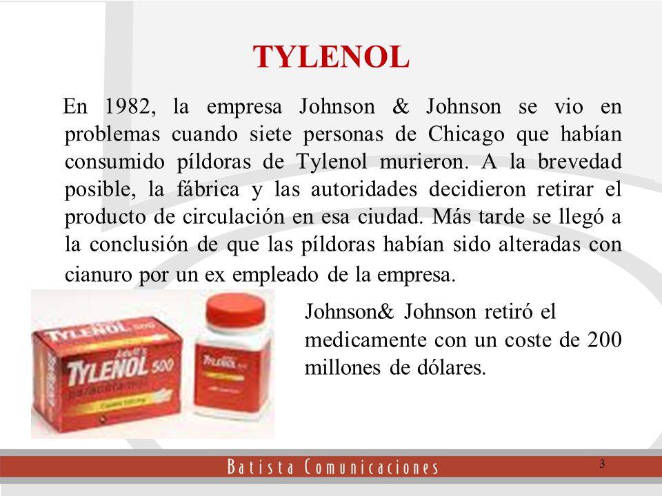 3 TYLENOL En 1982, la empresa Johnson & Johnson se vio en problemas cuando siete personas de Chicago que habían consumido píldoras de Tylenol murieron.
