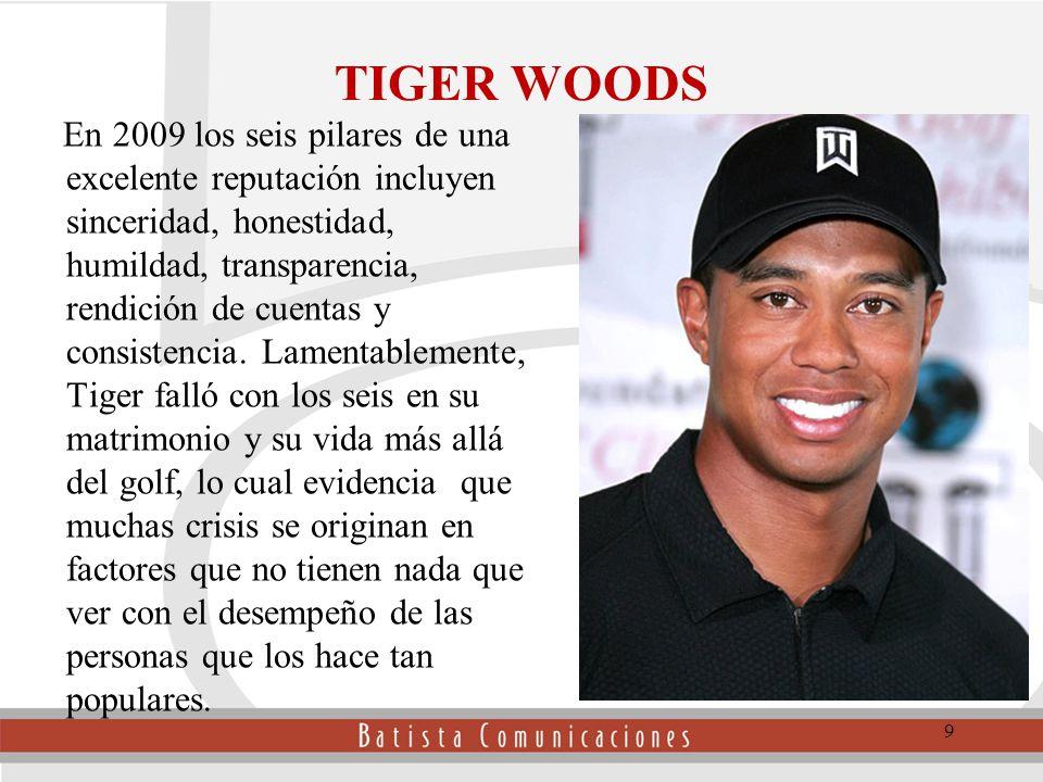 TIGER WOODS En 2009 los seis pilares de una excelente reputación incluyen sinceridad, honestidad, humildad, transparencia, rendición de cuentas y consistencia.