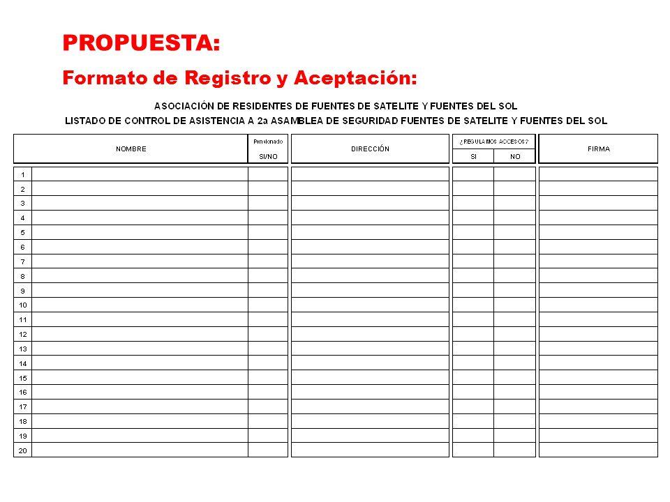 PROPUESTA: Formato de Registro y Aceptación: