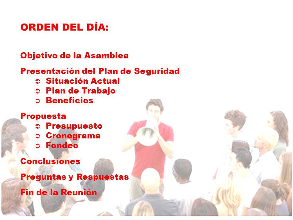 ORDEN DEL DÍA: Objetivo de la Asamblea Presentación del Plan de Seguridad  Situación Actual  Plan de Trabajo  Beneficios Propuesta  Presupuesto  Cronograma  Fondeo Conclusiones Preguntas y Respuestas Fin de la Reunión